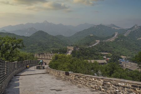 View of the great Chinese wall and mountains.