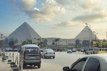 Image of the great pyramids of Giza, in Egypt.