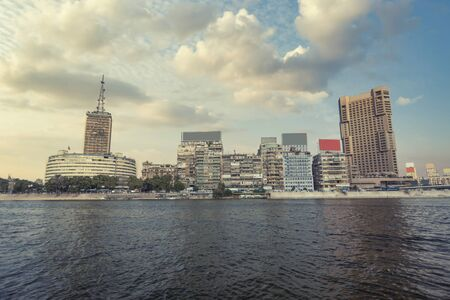 View of the city of Cairo from the river Nile. Egypt.