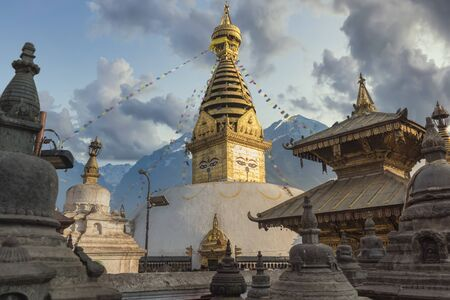 The ancient Nepali city in the mountains of the Himalayas. Stock Photo