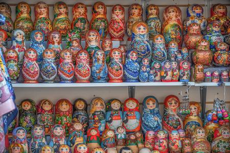 Moscow, November 1, 2019: souvenir doll Matryoshka. Editorial