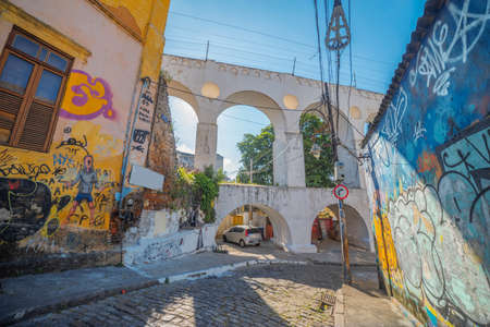 Popular bohemian area of Santa Teresa in Rio de Janeiro. Historic buildings are painted with graffiti.
