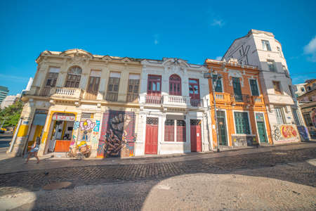 Popular bohemian area of ​​Santa Teresa in Rio de Janeiro. Historic buildings are painted with graffiti.