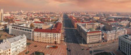 Independence Square Minsk. Belarus. Shot on a drone Foto de archivo