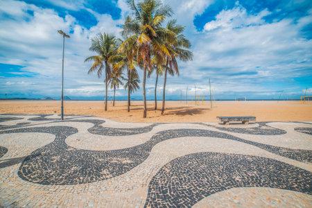 deserted Copacabana beach during the Coronavirus Infection (COVID-19) pandemic. Brazil