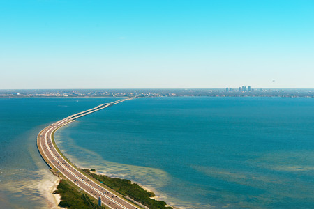 tampa bay: Aerial view of highway 275 crossing Old Tampa Bay leading to Tampa, Florida