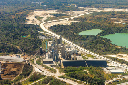 Aerial view of a quarry in rural countryside Florida