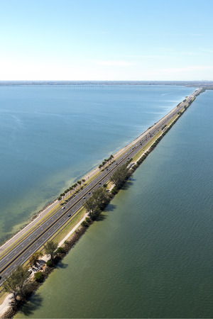 Aerial view of highway crossing Old Tampa Bay, Florida towards Clearwater
