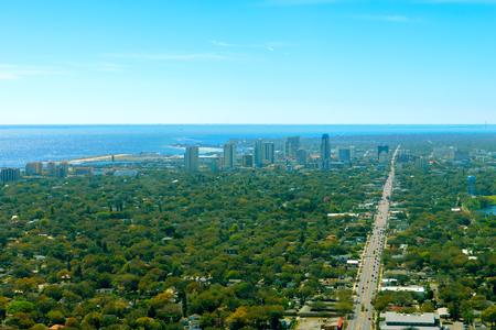 Aerial view of oceanfront small city downtown St. Petersburg Florida