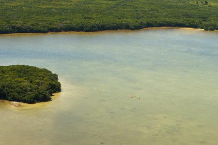 Aerial view of three kayakers in natural rural river or bay in Florida