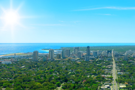 saint petersburg: Aerial view of oceanfront small city downtown St. Petersburg Florida
