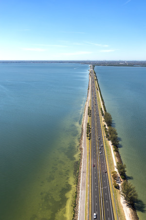 tampa bay: Aerial view of highway crossing Old Tampa Bay, Florida towards Clearwater