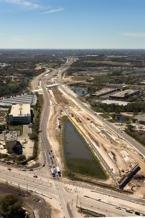 Aerial view of highway road construction