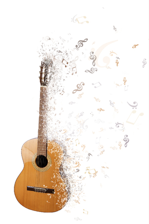 disintegrate: Classical guitar isolated on white background disintegrating into musical notes