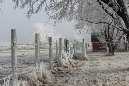 post: Winter Frost Fence Post Stock Photo