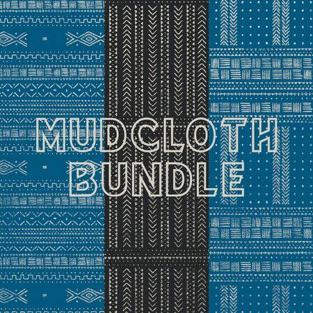 Three Mudcloth Patterns Bundle Ilustrace