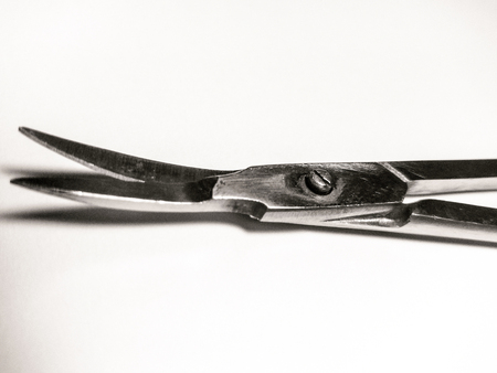 Precision Metal Nail Scissors, Trimmers, Clippers. Closeup. Isolated on white creme background, off white.