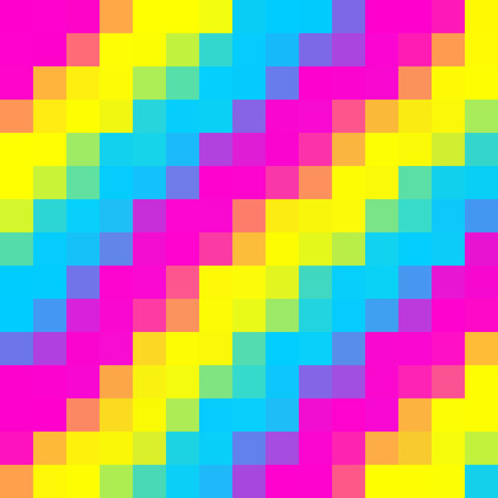 A digital illustration displaying pansexual colors or themes of yellow, teal (cyan) blue, and magenta. 版權商用圖片