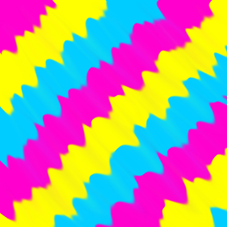 A digital illustration displaying pansexual colors or themes of yellow, teal (cyan) blue, and magenta. Stock Photo