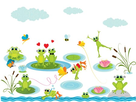 frog cartoon: summer background with frogs Illustration