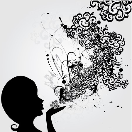 fluency: The abstract head of girl blows