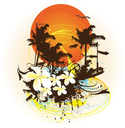 retro sunrise: Colorful Tropical Design  Illustration