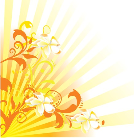 tropical background with flower Vector