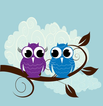nocturnal: Vector illustration of two  cute owl