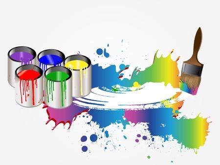 ink pot: Pinturas y pincel. Vector  Vectores