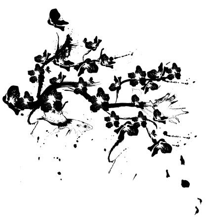 blossom tree: illustration with cherry tree flowers silhouette on white background
