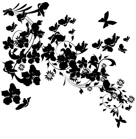 illustration with cherry tree flowers and butterflies silhouette on white background  Vector