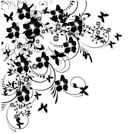 black an white: silueta de flores y mariposas sobre fondo blanco