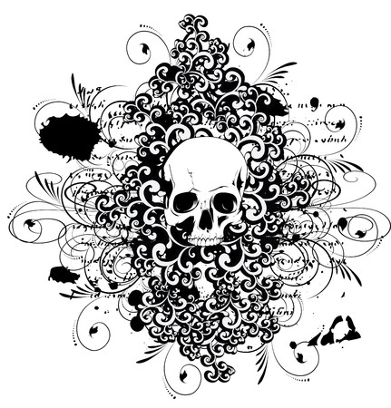 Vector skull with ornaments  Vector