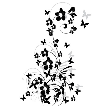 illustration with cherry tree flowers and butterflies silhouette on white background Stock Vector - 7624433