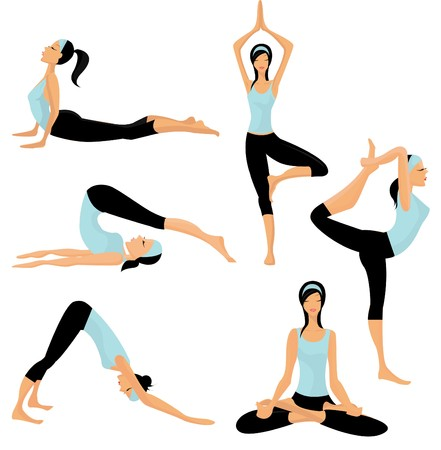 women yoga: Yoga poses  Illustration