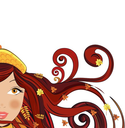red head girl: Woman with autumn leaves in her hair Illustration