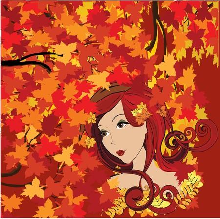 Autumn woman  Vector