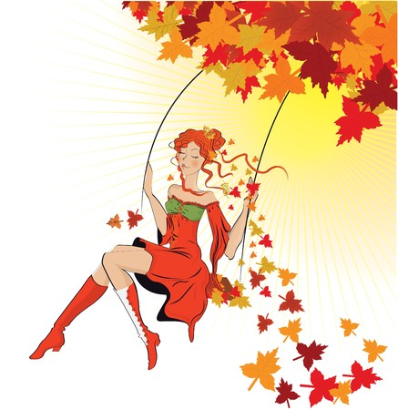 autumn woman: beautiful autumn girl on swing