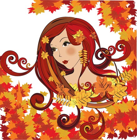 Autumn women,   illustration  Stock Vector - 7747990