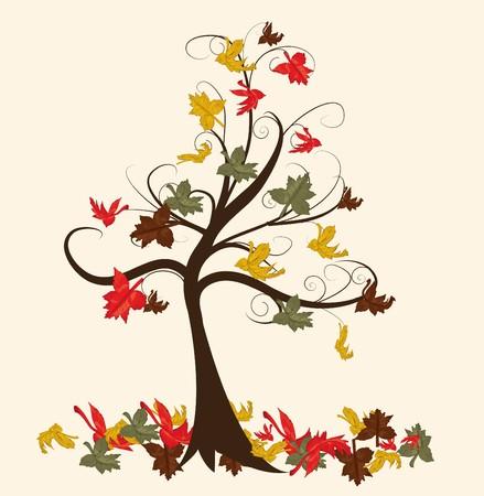 Arbre abstraite avec automne quitte illustration