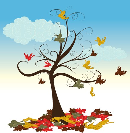 Abstract tree with autumn leaves   illustration  Vector