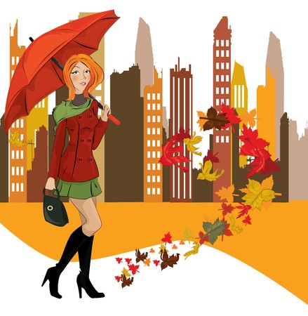 fall protection: women with umbrella in the city