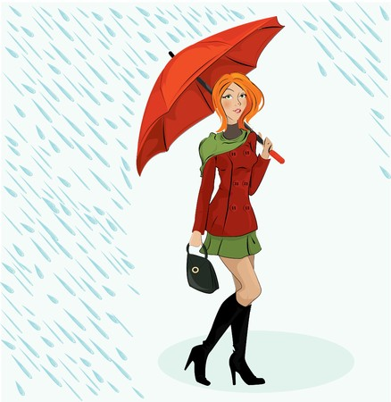 illustration of the girl with umbrella  Vector