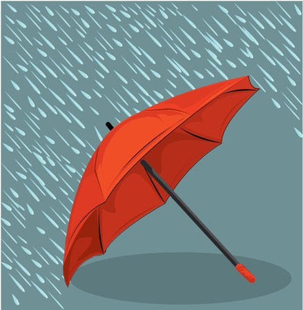 in the rain umbrella  Stock Vector - 7747784