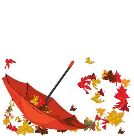 fashion item: Autumn umbrella with maples, autumn card.  illustration