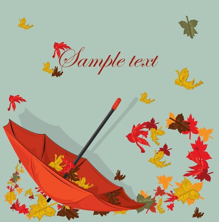 Autumn card with umbrella and maple  Vector