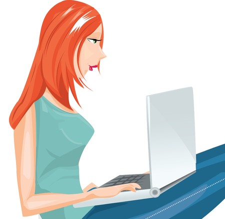 girl and laptop Stock Vector - 7747782