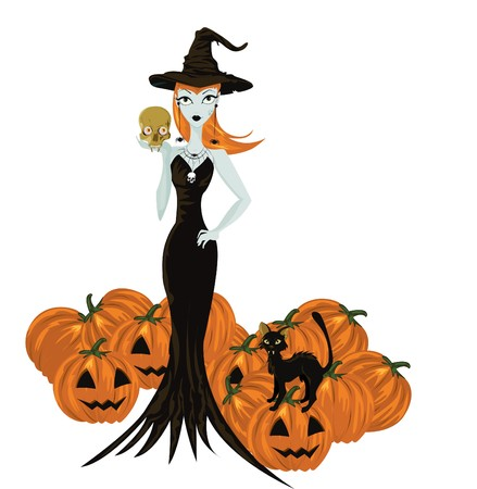Halloween witch standing with skull and pumpkins  Vector