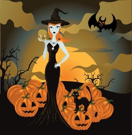 Halloween witch standing with skull and pumpkin Vector