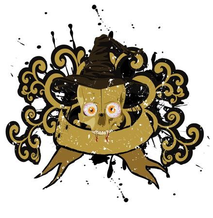 halloween skull with hat banner Stock Vector - 7747889